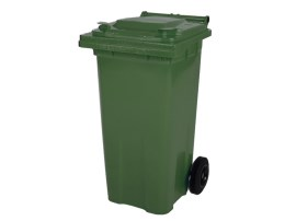 Two-wheeled 120 litre waste container - green