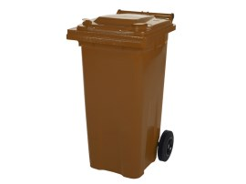 Two-wheeled 120 litre waste container - brown
