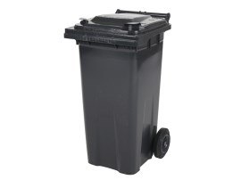 Two-wheeled 120 litre waste container - grey