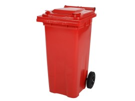 Two-wheeled 120 litre waste container - red