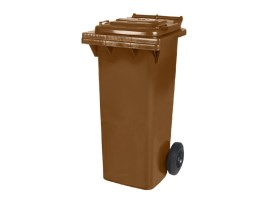 Two-wheeled 80 litre waste container - brown