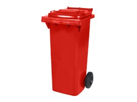 Two-wheeled 80 litre waste container - red
