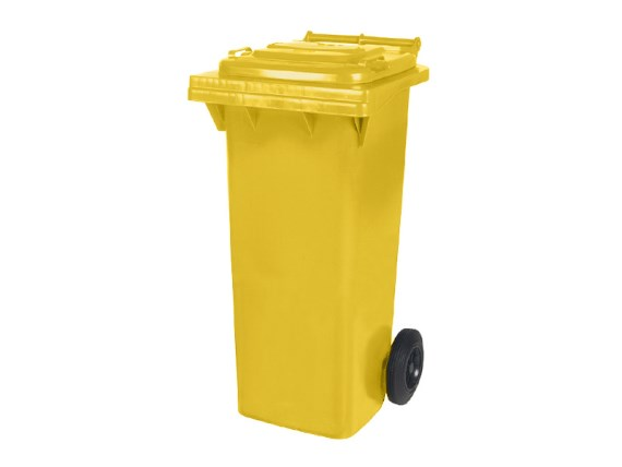 Two-wheeled 80 litre waste container - yellow 81371410