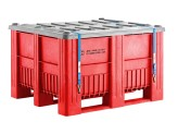 CB3 - UN approved plastic palletbox - 1200 x 1000 mm - 3 runners - red
