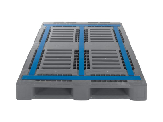 Plastic pallets - CR3-5 - 1200 x 1000 mm - with 5 runners - with rims - steel-reinforced - 83300801_antislip grey
