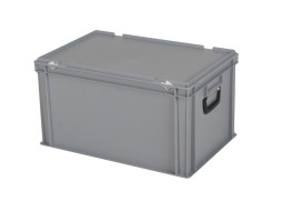 Plastic case - Stacking bin with lid and case handles - 600 x 400 x H 335 mm