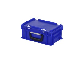Plastic case - 300 x 200 x H 133 mm - Blue - Stacking bin with lid and case handle