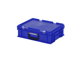 Plastic case - 400 x 300 x H 133 mm - Blue - Stacking bin with lid and case handle