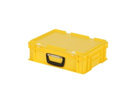 Plastic case - 400 x 300 x H 133 mm - Yellow - Stacking bin with lid and case handle