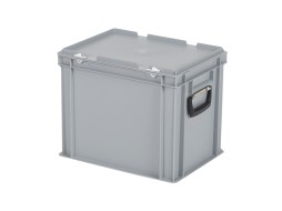 Plastic case - 400 x 300 x H 335 mm - Grey - Stacking bin with lid and case handles