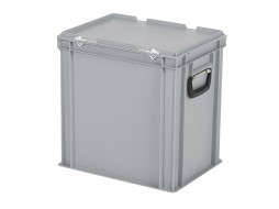 Plastic case - 400 x 300 x H 415 mm - Grey - Stacking bin with lid and case handles