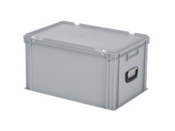 Plastic case - 600 x 400 x H 335 mm - Grey - Stacking bin with lid and case handles