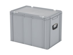 Plastic case - 600 x 400 x H 439 mm - Grey - Stacking bin with lid and case handles