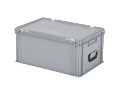 Plastic case - 600 x 400 x H 295 mm - Grey - Stacking bin with lid and case handles