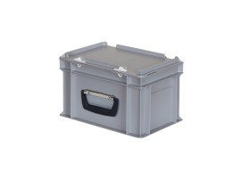 Plastic case - 300 x 200 x H 190 mm - Grey - Stacking bin with lid and case handle