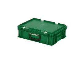 Plastic case - 400 x 300 x H 133 mm - Green - Stacking bin with lid and case handle