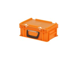 Plastic case - 300 x 200 x H 133 mm - Orange - Stacking bin with lid and case handle