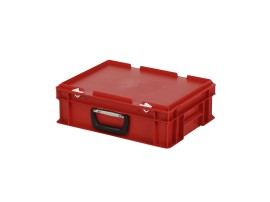 Plastic case - 400 x 300 x H 133 mm - Red - Stacking bin with lid and case handle
