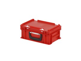 Plastic case - 300 x 200 x H 133 mm - Red - Stacking bin with lid and case handle