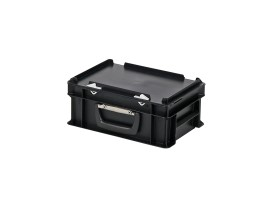 Plastic case - 300 x 200 x H 133 mm - Black - Stacking bin with lid and case handle