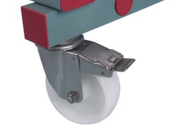 Rack with stainless steel wheels (braked)