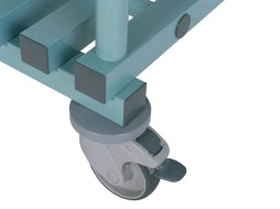 Rack with plastic wheels (braked)
