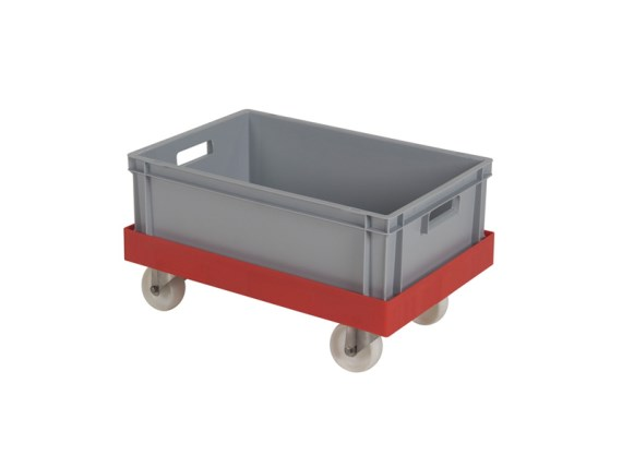 Plastic trolley - with crate and nylon wheels