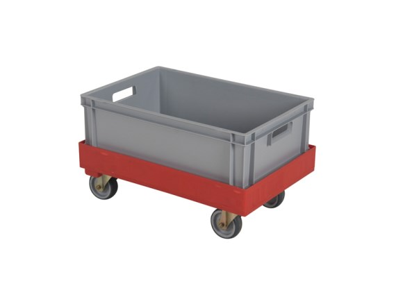 Plastic trolley - with crate and rubber wheels