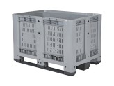 Plastic palletbox - 1200 x 800 mm - 3 runners - perforated - grey