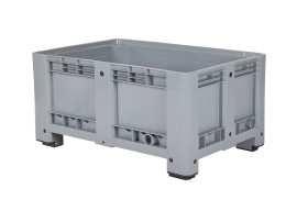 Plastic palletbox - 1200 x 800 mm - on 4 feet - closed - grey