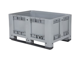Plastic palletbox - 1200 x 800 mm - 2 runners - closed - grey
