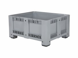 Plastic palletbox - 1200 x 1000 mm - on 4 feet - closed - grey