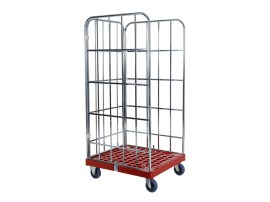Roll container - two side walls and one rear wall - galvanised - red