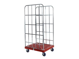 Roll container - two side walls - galvanised - red