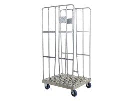 Roll container - two side walls - galvanised - grey