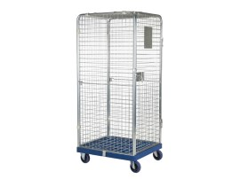 Anti-theft roll container - walls all-around - galvanised - dark blue