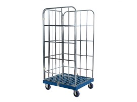 Roll container - two side walls and one rear wall - galvanised - dark blue