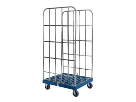 Roll container - two side walls - galvanised - dark blue