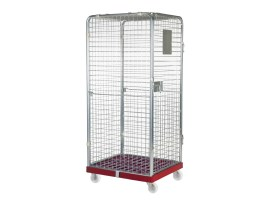 Anti-theft roll container - walls all-around - galvanised - red