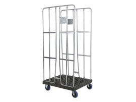 Roll container - two side walls - galvanised - black