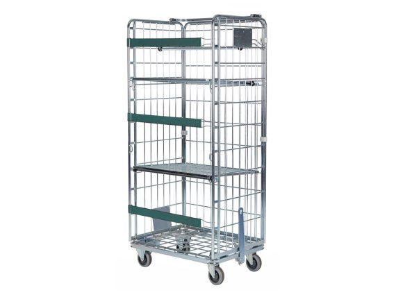 Clothing container – two rails, two side walls and one rear wall – galvanised - grey 52.VR071.310