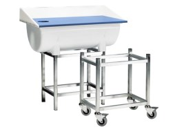 Wheeled stainless steel table trolley