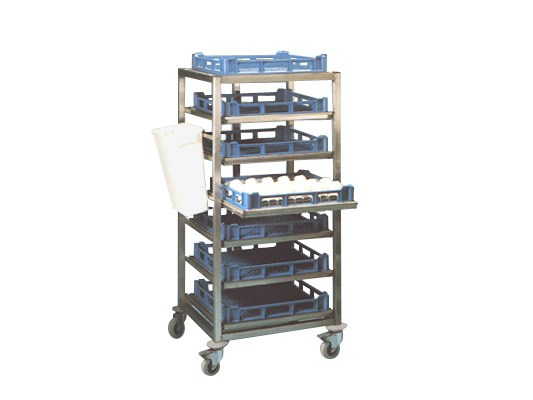Stainless steel extending shelf trolley 62.TEW.106.42