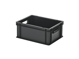 Stacking bin / bin for plates - 400 x 300 x H 175 mm - black (smooth base)
