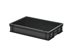 Stacking bin - 600 x 400 x H 120 mm - black (smooth base)
