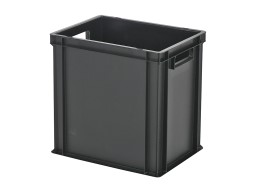 Stacking bin / bin for plates - 400 x 300 x H 400 mm - black (reinforced base)