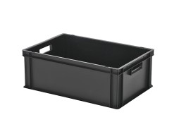 Stacking bin - 600 x 400 x H 220 mm - black (smooth base)
