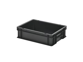 Stacking bin / bin for plates - 400 x 300 x H 120 mm - black (smooth base)