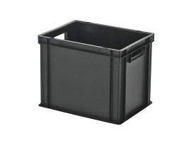 Stacking bin / bin for plates - 400 x 300 x H 320 mm - black (reinforced base)