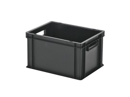 Stacking bin / bin for plates - 400 x 300 x H 236 mm - black (smooth base)